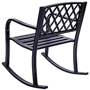 Giantex Patio Metal Rocking Chair Porch Seat Deck Outdoor Backyard Glider Rocker, Bronze