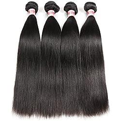 Hermosa Brazilian Straight Hair Natural Black Human Hair Bundles 10-28 inch Virgin Brazilian Hair 4 Bundles 16 18 20 22