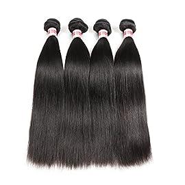 Hermosa Brzazilian Straight Hair 4 Bundles 9A Unprocessed Virgin Straight Human Hair Bundles Natural Black (8 10 12 14)