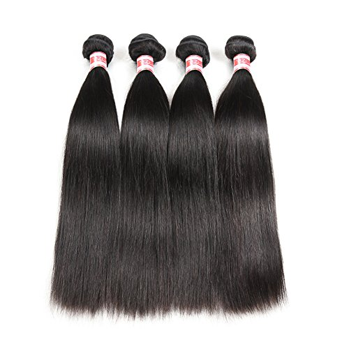 (Hermosa Brazilian Straight Hair 4 Bundles 14 16 18 20inch 7A Unprocessed Virgin Brazilian Straight Human Hair Weave Bundles Natural Black)
