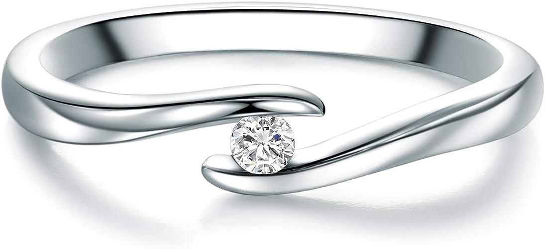 Tresor 1934 Damen-Ring Sterling Silber 925-// Zirkonia weiß im Brillantschliff