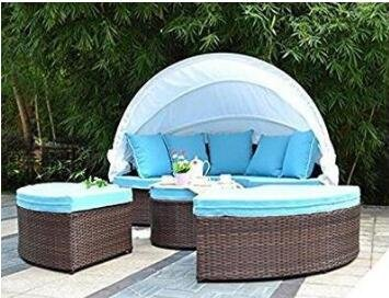 Bellagio Gift Set - Bellagio 4-piece Outdoor Daybed Sectional Set (Aquamarine with free nice gift)