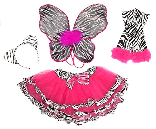 Girls Zebra Fairy Costume with Wings, Tutu, Wand and -