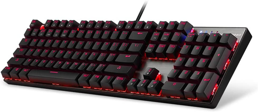 Portuguese WANGJIANGLI 104 Key Mechanical USB Keyboard Switches Colorful LED Illuminated Backlit RGB,Anti-Ghosting Gaming Keyboard with Blue Switch,Redaxis