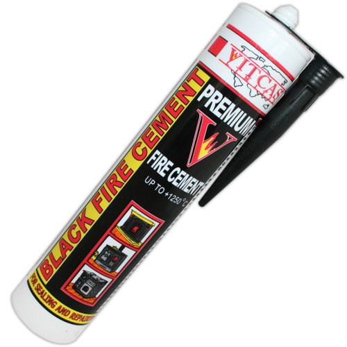Black Fire Cement 1250 C - 310ml for Fireplace, Stove, Boilers etc Vitcas