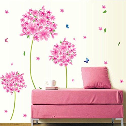 Wall Sticker Butterflies Pink Flowers Nursery Baby Room Stickers ...