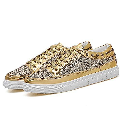 ZHZNVX Zapatos de Mujer Canvas Spring & Summer Comfort Sneakers Flat Heel Round Toe Gold/Black / Silver Gold