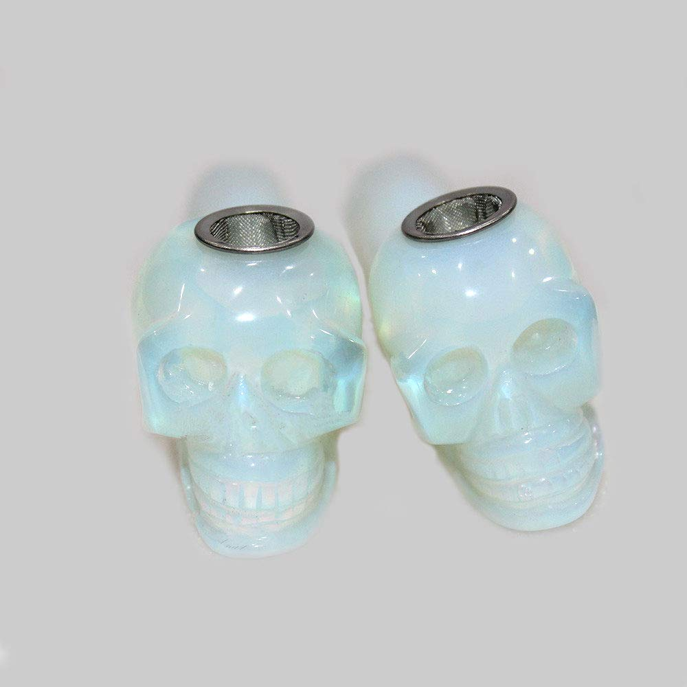 Skull Tube with Filter Tube Natural Crystal polishing 3 Filters and 1 Brush HZYG Opal Natural Crystal Tube is The Best Choice for Collection and Gift.