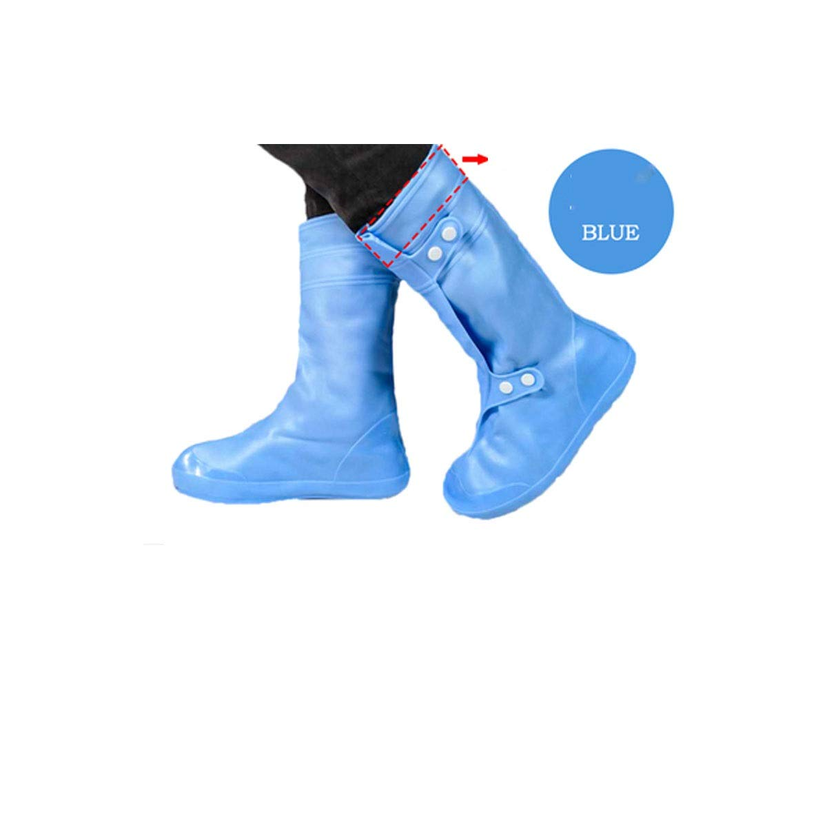 KAIYITONG Shoe Cover, Rain Shoe Cover, High Tube Wear Rubber Outdoor Motorcycle Rain Men and Women Non-Slip Foot Cover, More Colors Multi-Purpose Shoe Covers (Color : Blue, Size : XL) by KAIYITONG