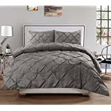 3 Piece Luxurious Pinch Pleat Decorative Pintuck Comforter Set - HIGHEST QUALITY, WRINKLE RESISTANT, ALL SEASON - Full/Queen, Gray