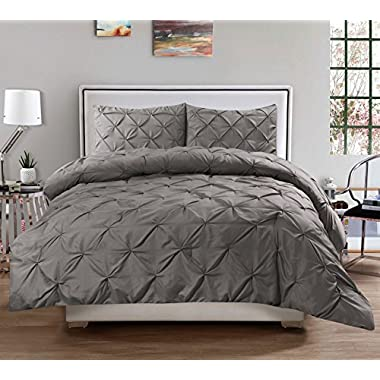 3 Piece Luxurious Pinch Pleat Decorative Pintuck Comforter Set - HIGHEST QUALITY, WRINKLE RESISTANT, ALL SEASON - King, Gray