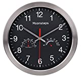 Moonsteps 12'' Quartz Silent Metal Frame Digital Wall Clock No Ticking w/Temperature & Humidity Stats, Black