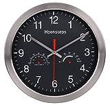 moonsteps 30.5cm cuarzo silencioso reloj de pared Digital Marco de metal sin tic-tac W/temperatura y humedad estadísticas, color negro