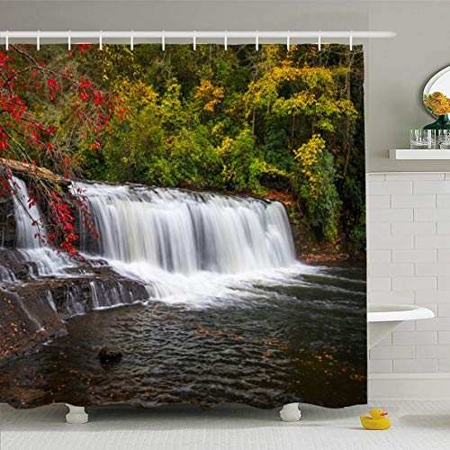 Ahawoso Shower Curtain 66x72 Inches Appalachia Autumn Waterfall North Carolina Peaceful Blue Nature Fall Parks Appalachians Ridge Design Waterproof Polyester Fabric Set with Hooks