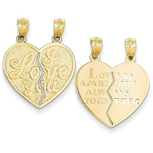 14k Gold 2-Piece Break-Apart Reversible 'I Love You' & 'Lovers Apart but Always Together' Heart Pendant - (Yellow Gold, 1.00 Inch Height)