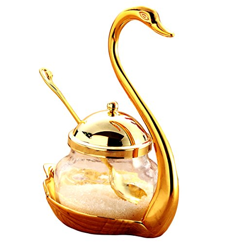 Condiment Glass (Tea Talent Condiment Pot Seasoning Container Spice Glass Jar Salt Sugar Bowl Pepper Coffee Storage Organizer Swan Rack with Serving Spoon,Golden)