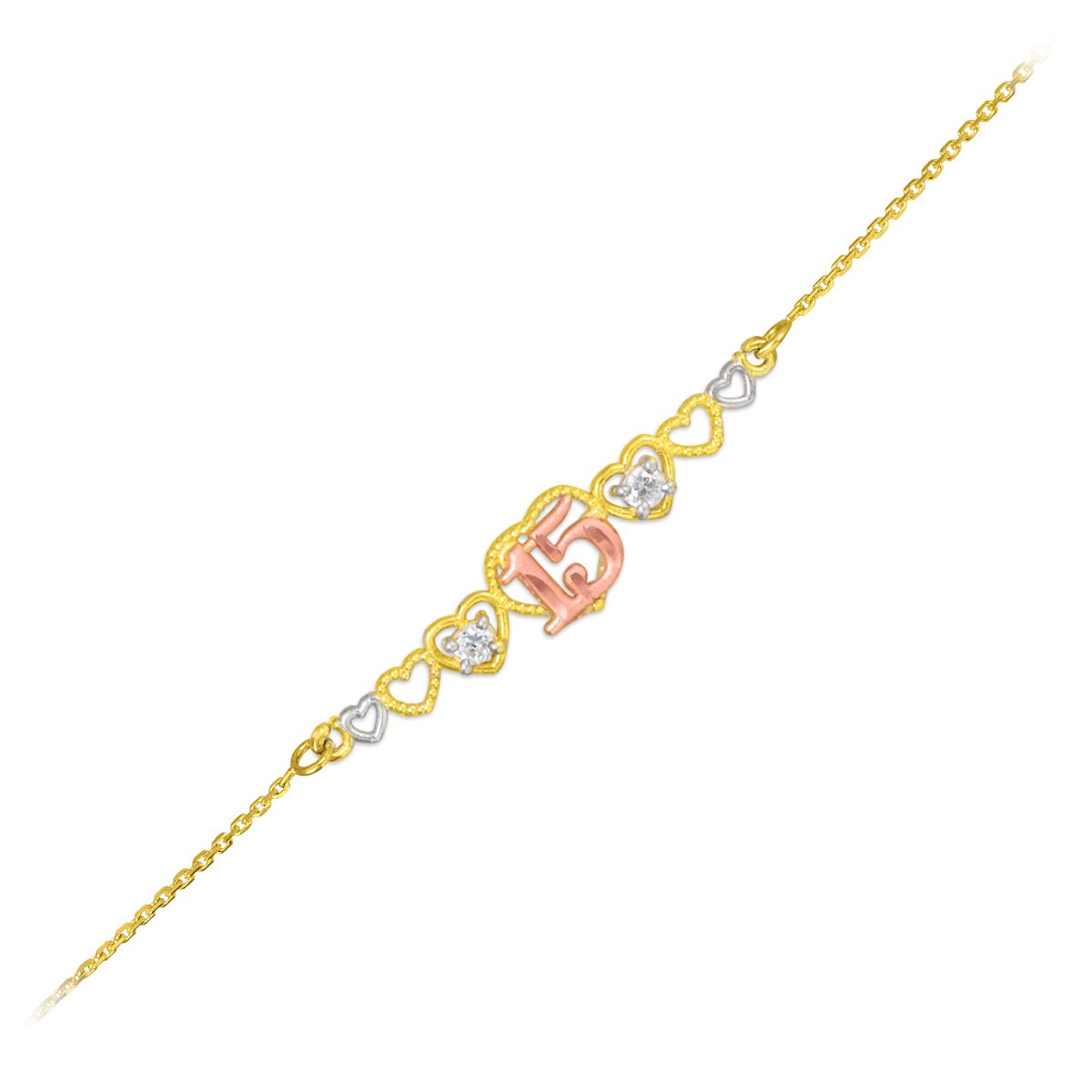 14k Tri-Color Gold Sweet 15 Anos Quinceanera Hearts Bracelet 7'' With 0.5'' Extension