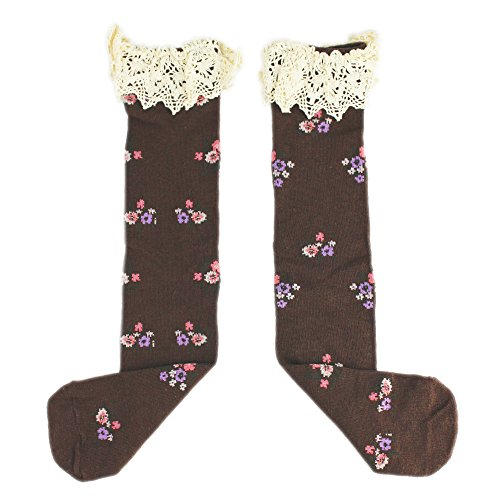 Hello Kitty Knee High Socks (Sealive Sweet Kids Child Girl's Cotton Princess Floral Flowers Lace Infant Toddler Lace Ruffles Long Tube Socks Bow Knee High Socks)