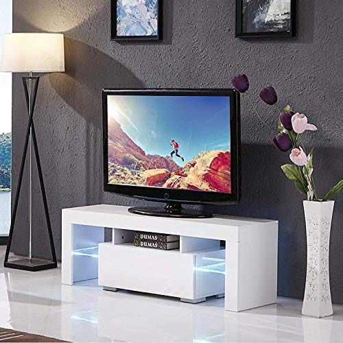 Mecor Modern White TV Stand, 51 Inch High Gloss LED TV Stand Console Table for Living Room (Gloss High Modern)