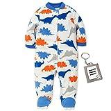 Little Me Dinosaur Footed Newborn Blanket Sleeper Baby Pajamas Off White 3 Month