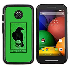 "Be-Star Único Patrón Plástico Duro Fundas Cover Cubre Hard Case Cover Para Motorola Moto E / XT1021 / XT1022 ( Cuervo Cuervo verde cráneo Pájaro Oscuro"" )"