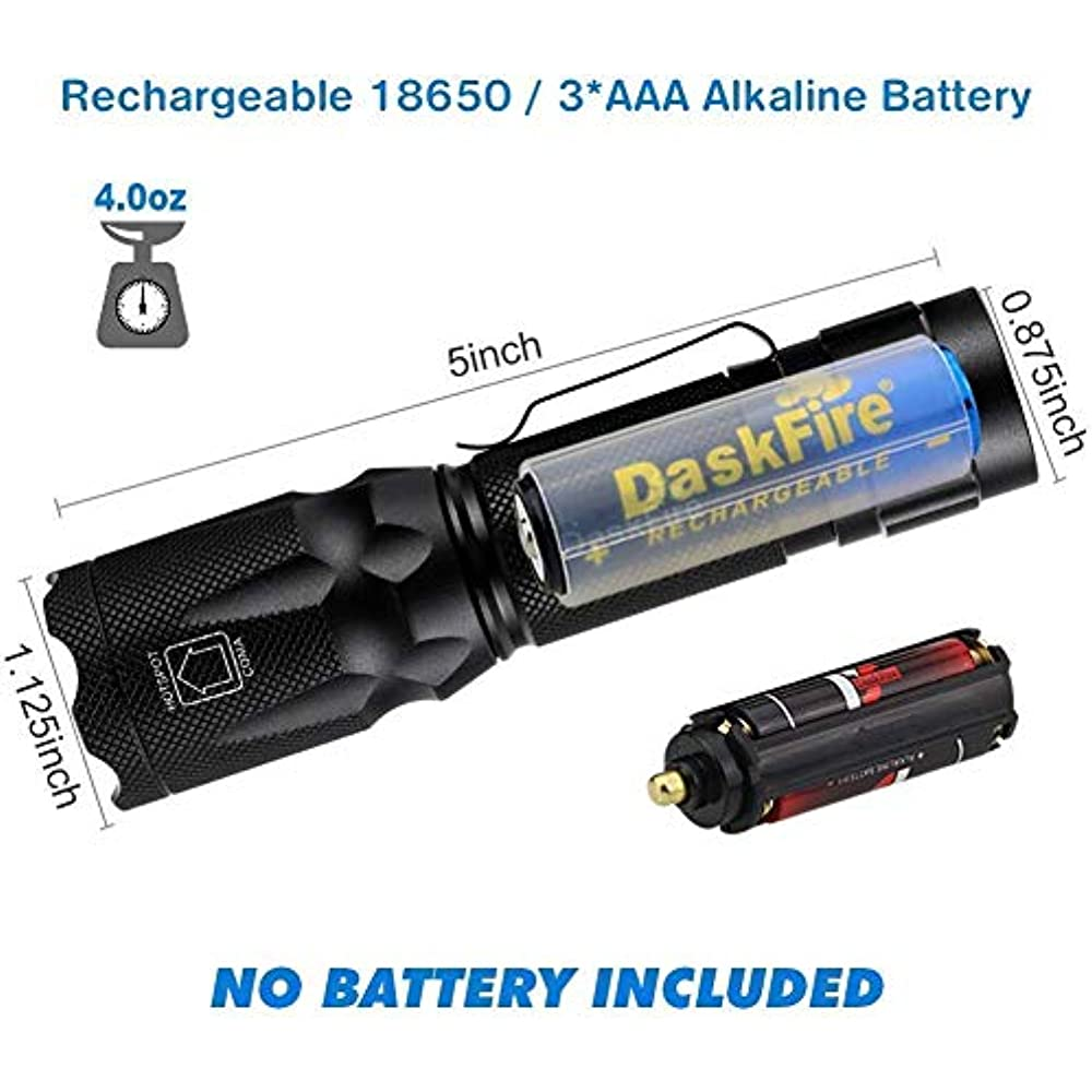 Rechargeable Flashlight Kit With Black Light 2 In 1, UV