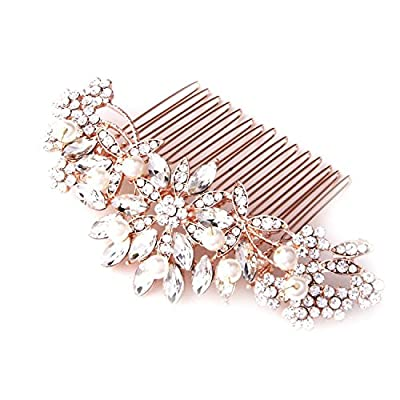 "Fairy Moda Flora Wedding Hair Accessories Bridal Hair Comb Rose Gold 4"" by 1 1/2"""