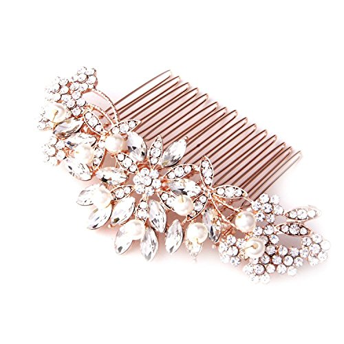 (Fairy Moda Vintage Pearl Crystal Bridal Hair Accessories Rose Gold Hair Comb for Brides Wedding)