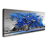 wall painting ideas Wall Art Painting Contemporary Blue Tree in Black and White Style Fall Landscape Picture Modern Giclee Stretched and Framed Artwork(24inchx48inch)