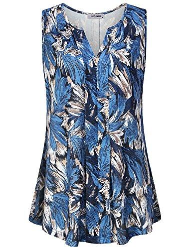(JCZHWQU Sleeveless Tops Women Ladies Apparel Notch V Neck Tunic Tank Sleevelss Classy Vintage Peasant Flower Printed Blouse Shirt Boutique Clothing Blue XXL)