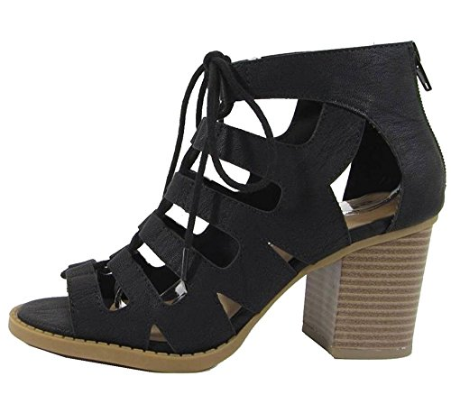 Soda Women's Cutout Zip Back Stacked Chunky Heel Bootie Black 7.5