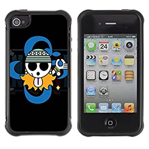 Pulsar Defender Series Tpu silicona Carcasa Funda Case para Apple iPhone 4 / iPhone 4S , Cute Gangsta Sign
