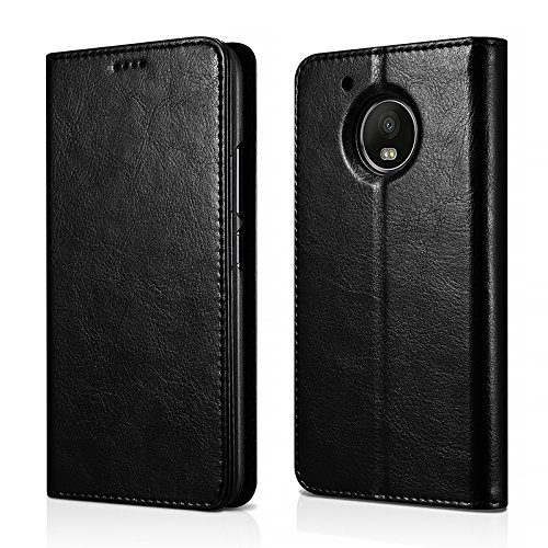MOTO G5 Plus Case,Mangix Genuine Leather Wallet Card Slots Series Secure Magnetic Closure Stand Feature Luxury Flip Case for Motorola G5 Plus (Black) Kalaideng Leather