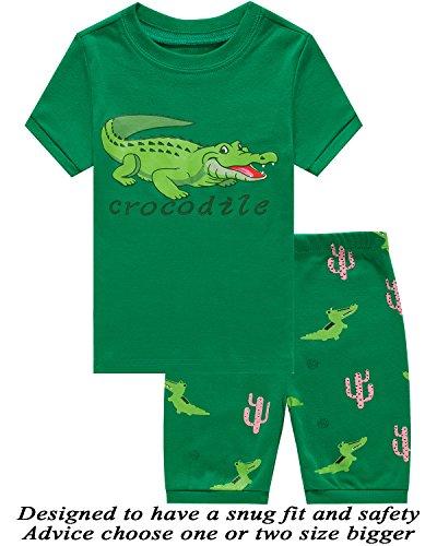 Little Boys 2 Piece Short Pajamas Crocodile 100% Cotton Toddler Pjs Summer Kids Clothes 6t