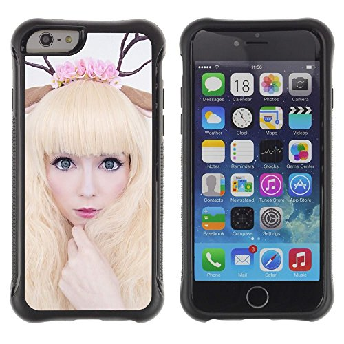 Blond Horn (Pulsar iFace Series Soft TPU Skin Bumper Case Cover for Apple iPhone 6+ Plus(5.5 inches) , Horns Art Deer Woman Blonde Fairy White)