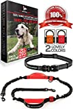 Pet Dreamland Dog Running Leash Hands Free - For Medium to Large Dogs (up to 150lbs) - Walking/Hiking/Dog Training - Heavy Duty Extra Long Bungee Lead - Waist Leashes for Dogs (One Dog, Black & Red)