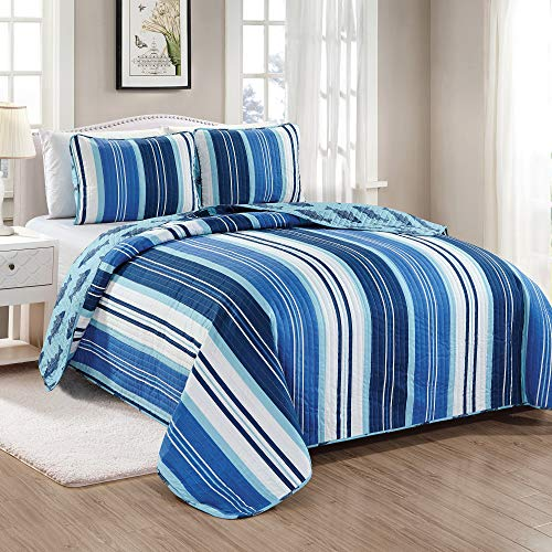 Great Bay Home Sudbury Coastal Collection 3 Piece Quilt Set with Shams. Reversible Beach Theme Bedspread Coverlet. Machine Washable. (Full/Queen, Blue ()