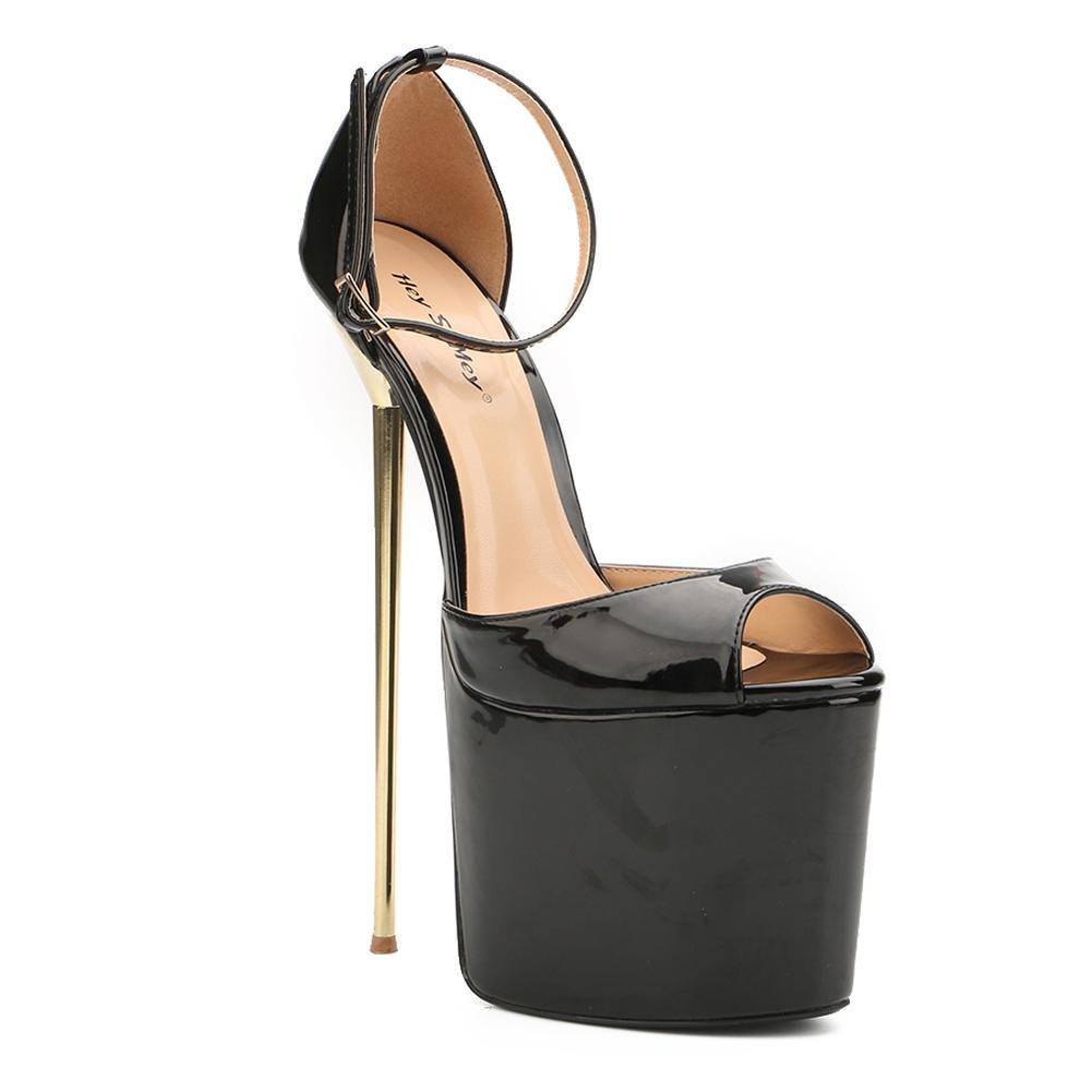 Tacones Altos de Mujer 22cm de ACERO Fino Ultra Alto con Zapatos formales Spring Fall PU Dress Party and Evening 49 EU|Black