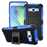 A3 Case, for Samsung Galaxy A3 Case, [Tyre Pattern] Tough Armor Case Double-Deck Layer Protection Hybrid Case [Built-In Stand] Cover [Sure Grip] Shock Drop Impact Proof Cover (Free Gifts: 1x Stylus+1x Screen Protector)(Blue)