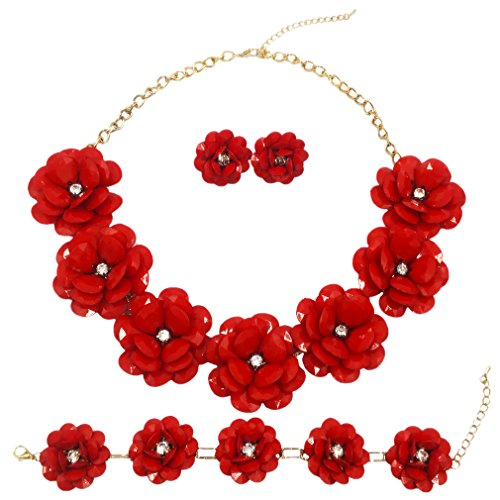 laanc 7 Flower Bridal Wedding Jewelry Set Resin Beads Stone Pearl Floral Vine Design Necklace Sets (Red)