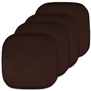 "Sweet Home Collection 4 Pack Memory Foam Honeycomb Nonslip Back 16"" x16"" Chair/Seat Cushion Pad"
