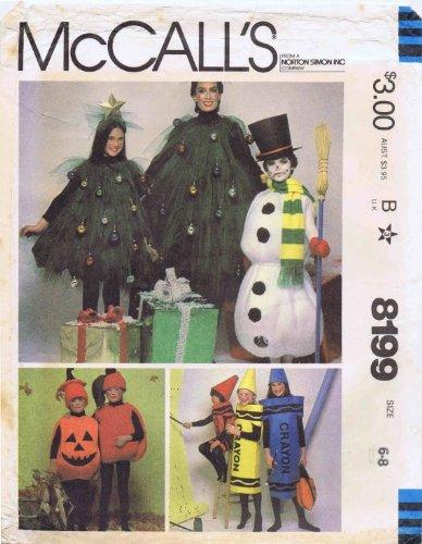 McCall's 8199 Boys Girls Jack O Lantern Apple Snowman Crayon Christmas Tree Costume Vintage Sewing Pattern Size 6 - 8 ()
