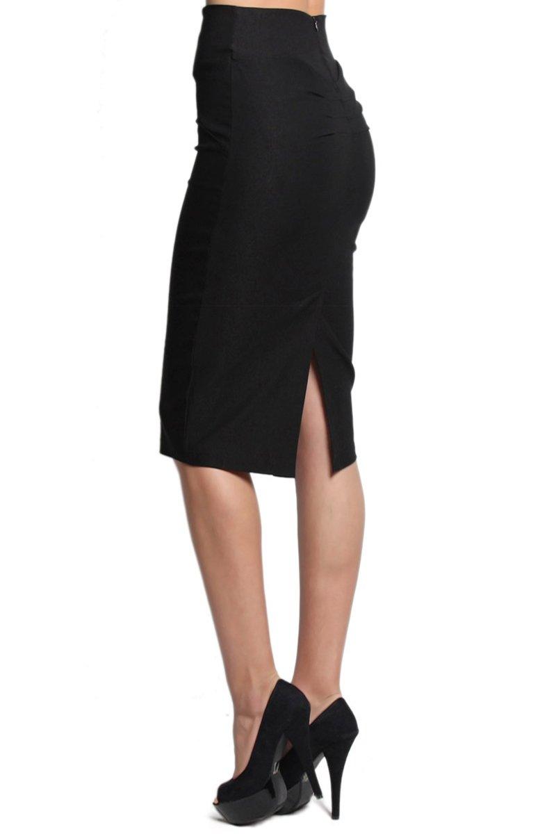 TheMogan Women's High Waist Pencil Stretch Knee Skirt