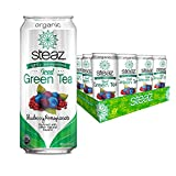 Steaz Organic Lightly Sweetened Iced Green Tea, Blueberry Pomegranate, 16 OZ (Pack of 12)