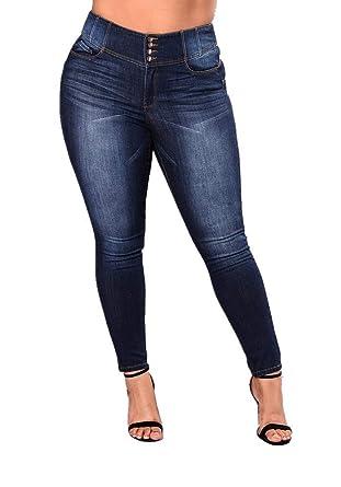 d5332d91 Women's High Waist Butt Lift Stretch Pull-On Skinny Jean Slim Denim Jegging  Blue