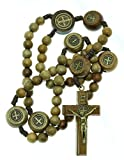 Intercession™ St Benedict Sacred Handmade Solid Wood Rosary (Walnut - Medals on our Father Beads - Traditional)