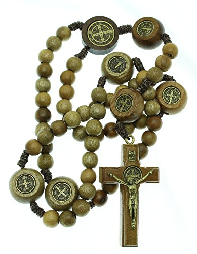 Solid Crucifix Rosary (Intercession™ St Benedict Sacred Handmade Solid Wood Rosary (Walnut - Medals on our Father Beads - Traditional))