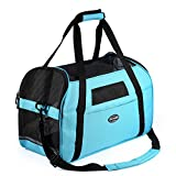 Pettom Pet Carrier for Dogs & Cats Comfort Airline Approved Travel Tote Soft Sided Bag (L 19'' L x 10'' W x 13'' H, Blue)