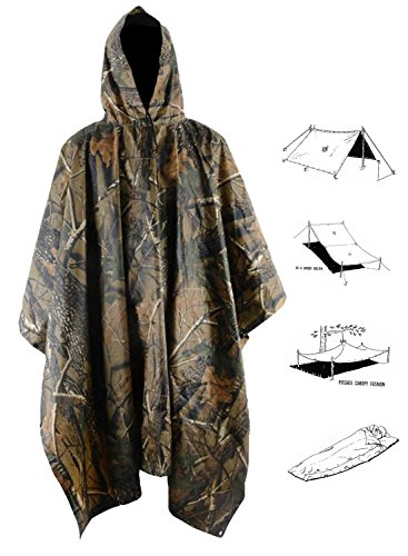 Raincoat Mens Camouflage (T-wilker 3 in1 Rain Poncho Waterproof Camouflage Ripstop Rain Jacket Batwing-sleeved Rain Coat with Hoods (Maple))