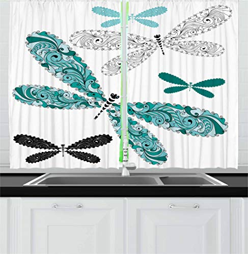Kitchen Curtains, Ornamental Dragonfly with Lace and Damask Effects Image, Window Drapes 2 Panel Set for Kitchen Cafe Decor, 55